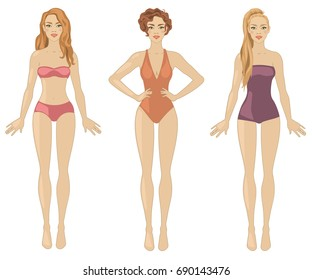 Vector illustration with three redheaded women.
