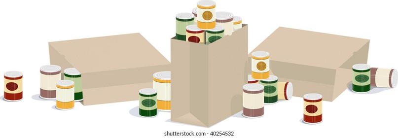 a vector illustration of three sacks of overflowing canned goods