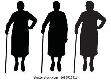 Vector illustration three silhouettes of older women in glasses. Senior women are standing next to each other, looking in different directions, on the sides. Front view, full face. Friends on a walk.