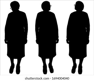Vector illustration three silhouettes of older women in glasses. Senior women stand in one line and look around, in different directions. Black silhouette is isolated on a white background. Full view.