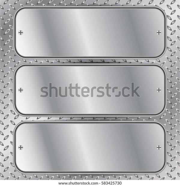 Vector illustration of Three silver panels