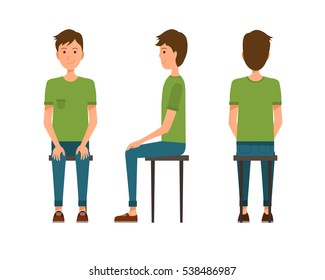 Vector illustration of three sitting men in casual clothes under the white background. Flat people illustartion.Flat young man.Front view sitting man, Side view sitting man, Back side view sitting man