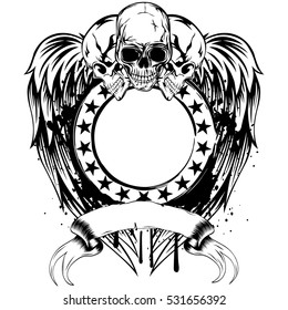 Vector illustration three skulls and stamp with stars on wings.