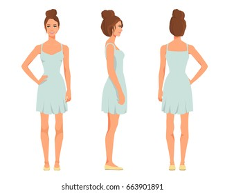 Vector illustration of three smiling girl in mint dress under the white background. Cartoon realistic  people illustration. Flat young woman. Front view girl, Side view girl, Back side view girl