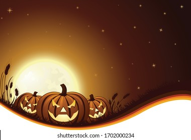 A vector illustration of three spooky glowing jack-o-lanterns on a hill in front of a rising full moon on Halloween night