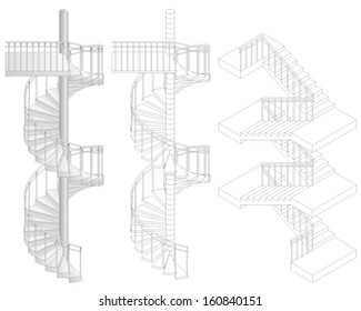 Vector illustration of three staircases. Illustration can be modified to be more long stairs.
