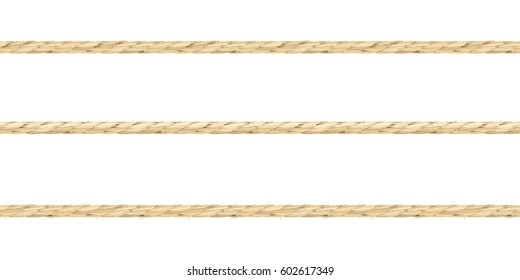 Vector illustration of three types of linen string. Seamless pattern of neat realistic linen material texture ropes.