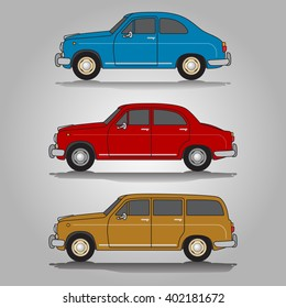 Vector illustration of three variations of classic European old-timer automobiles including small blue car, red saloon (sedan) car and ocher wagon car