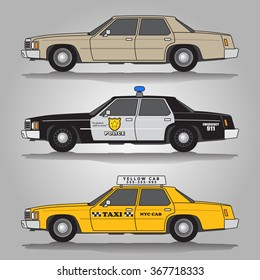 Vector illustration of three variations of imaginary classic 80s automobiles including beige saloon (limousine) car, police car and taxi (yellow cab)