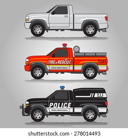 Vector illustration of three variations of pick-up trucks including white pick-up truck, fire & rescue truck and police truck
