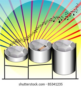 Vector Illustration of three variations of Steel Pan Drums invented in Trinidad and Tobago.