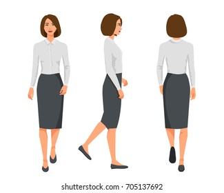 Vector illustration of three walking business woman  in official clothes. Cartoon realistic people illustration.Flat young woman.Front view girl,Side view girl,Back side of girl