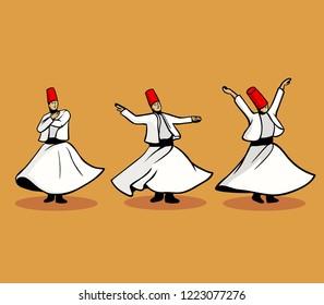 Vector illustration of three whirling darvish. Spiritual dance.