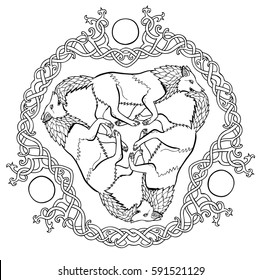 Vector illustration of three wolves viking fantasy Celtic knot triskelion black and white