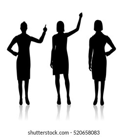 Vector illustration of three women silhouettes with hands up on the white background.