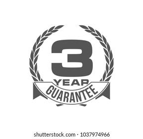 Vector illustration Three Years Warranty icon background with ribbon and olive branch isolated on white. Poster, label, badge or brochure template. Banner with Logo 3 years guarantee Label obligations
