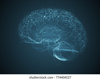 Vector illustration, three-dimensional brain on a dark background