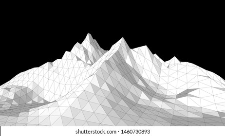 Vector illustration of a three-dimensional wireframe landscape on a black background. Abstract mountain in low polygonal style. Triangular surface.