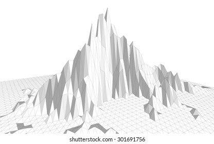 Vector illustration of a three-dimensional wireframe landscape