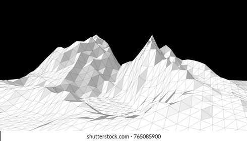 Vector illustration of a three-dimensional wireframe landscape on a black background. Abstract mountain in low polygonal style