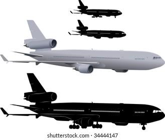 Vector illustration of three-engine passenger airliner