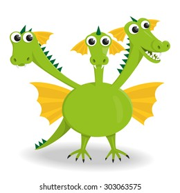 Vector illustration of a three-headed dragon in cartoon style.