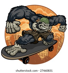 Vector illustration of a thug gorilla monkey dressed as an urban thug wearing cargo shorts, body piercings and tattoos escaping the downtown madness on his skateboard.