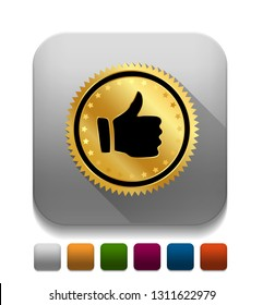 """Vector illustration of thumb up button - approve sign """"approve or confirm"""" communication icon"""