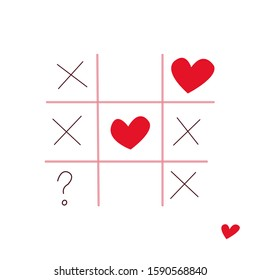 Vector illustration tic tac toe game with hearts, criss cross and question mark, love or not, valentines day card