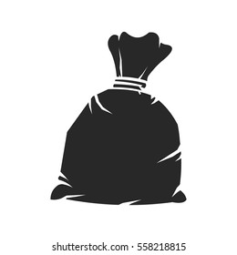 A vector illustration of a tied up black plastic refuse sack.