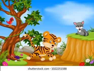vector illustration of tiger, bird and raccoon with mountain cliff scene