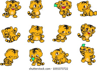 Vector illustration of Tiger cartoon set collection