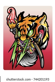 vector illustration, Tiger comics, illustration of comic tiger with brush on red background