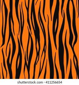 Vector Illustration of Tiger Print Seamless Animal Pattern. Wild texture for Design, Website, Background, Banner. Nature Wallpaper Template.