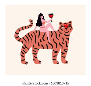 Vector illustration with tiger and woman with black glass of red wine. Trendy print design with animal