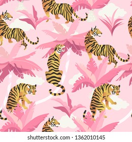 Vector illustration of tigers with tropical leaves and exotic plants on a pink background. Trendy seamless pattern.