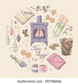 Vector illustration with Time to Hygge lettering and cozy home things like candles, socks, tea, fireplace designed in a circle. Danish living concept. Greeting card template, hand drawn style.