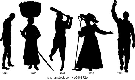 Vector Illustration time line for Black History month. Slavery from 1619-1865, Jackie Wilson in 1947, Mahalia Jackson in 1952 and Barack Obama became president in 2009.