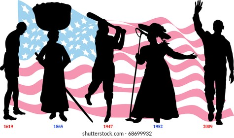 Vector Illustration time line for Black History month with American flag. Slavery from 1619-1865, Jackie Wilson in 1947, Mahalia Jackson in 1952 and Barack Obama became president in 2009.