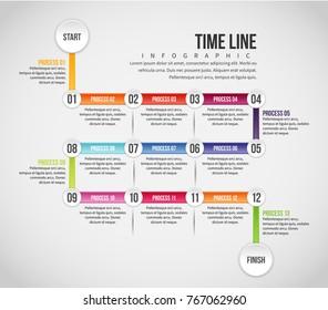 Vector illustration of Time Line Infographic design element.