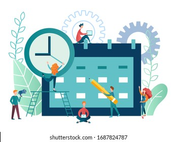 vector illustration time management concept. employees of the company's team plan the workflow and organize the work time using electronic applications and modern technologies