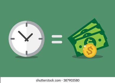 Vector illustration, time is money.