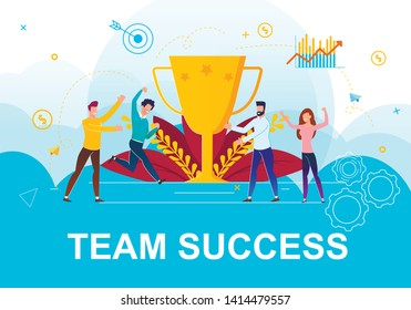 Vector Illustration Time Success Landing Page. Foreground there is Golden Cup or Prize for Work Done. Flat Banner People Rejoice at Victory and Achievement Goal Cartoon. Teamwork Led to Success.