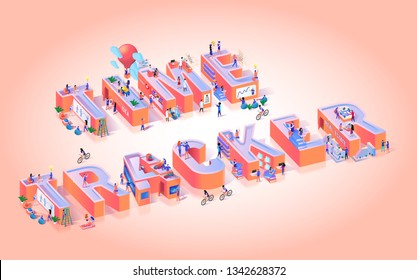 Vector Illustration Time Tracker Pink Background. Small Men and Women among Large Letters. Red Balloon Flies between Letters above Cyclists and Athletes. Time Attendance Cloud Application.