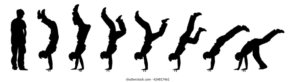 Vector illustration of time-lapse silhouette of a boy doing a gymnastic handstand, isolated against white.