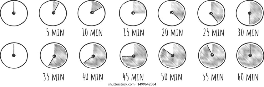 Vector illustration of timer simple doodle icons set. Stopwatch on 5, 10, 15, 20, 25, 30, 35, 40, 45, 50, 55, and 60 minutes. Half and quarter of hour. Vintage hand drawn style.