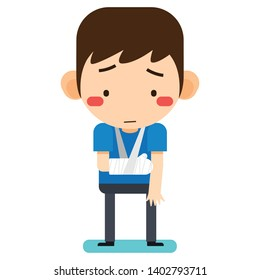Vector illustration, Tiny cute cartoon patient man character broken right arm in gypsum bandage or plastered arm on white background version 2