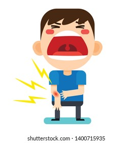 Vector illustration, Tiny cute man character broken right arm on white background