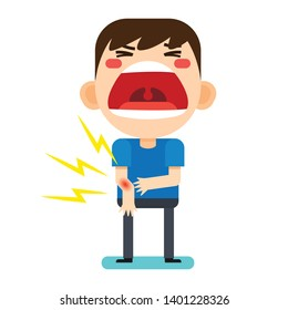 Vector illustration, Tiny cute man character broken right arm on white background version2