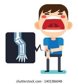 Vector illustration, Tiny cute man character broken right arm and x-ray on white background version2